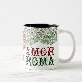 Amor Roma With Green Lace Two-Tone Coffee Mug