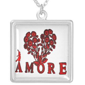 amore- Flowers Silver Plated Necklace