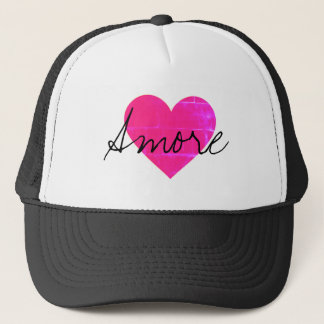 Amore Hot Pink love heart Trucker Hat