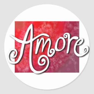 Amore - reverse red jazzy classic round sticker