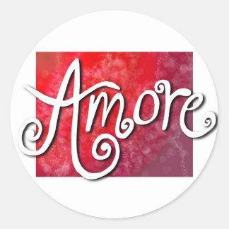 Amore - reverse red jazzy round sticker