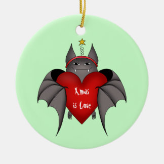Amorous gothic Christmas bat Ceramic Ornament