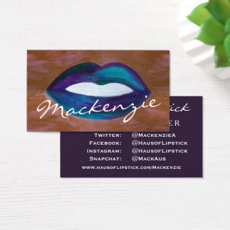 Amorous Salon | Glam Lips Kiss XOXO Social Media Business Card