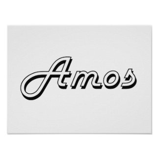 Amos Classic Retro Name Design Poster