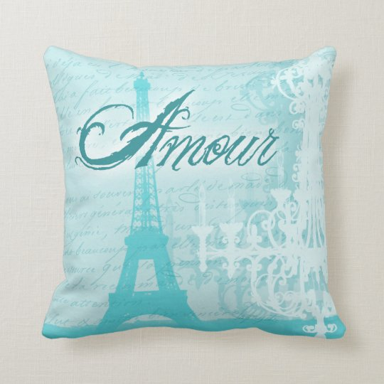 Amour Blue French Eiffel Tower Throw Pillow