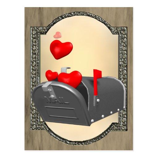 Amour dans le courrier cartes postales
