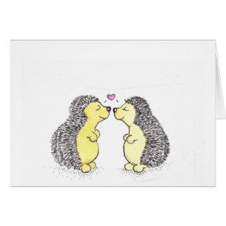 Amour de hérisson cartes de vœux
