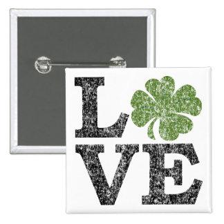 AMOUR de Jour de la Saint Patrick avec le shamrock Macaron Carré 5 Cm