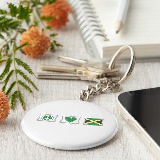 Amour de paix et carrés de la Jamaïque Porte-clé Rond