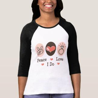 Amour de paix je fais la pièce en t de raglan de t-shirt