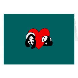 Amour de panda carte de correspondance