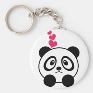 Amour de panda porte-clé rond