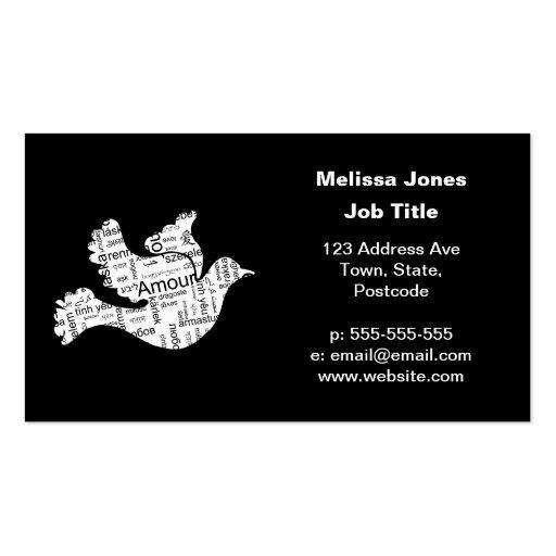 Amour de typographie de mot de colombe dans différ modèles de cartes de visite