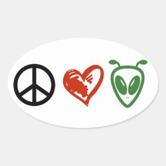 Amour et aliens de paix sticker ovale
