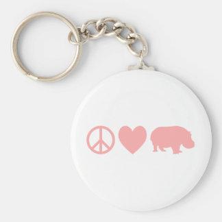 Amour et hippopotames de paix porte-clé rond