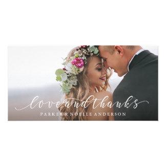 Amour et mercis débordants épousant le carte photo