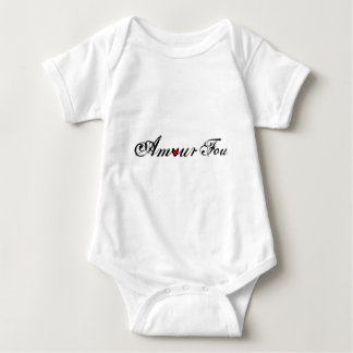 Amour fou, french word art with red heart baby bodysuit