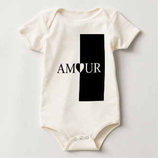 AMOUR Love Black And White Design Baby Bodysuit