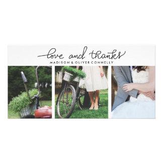 Amour moderne et mariage manuscrit de mercis photocarte customisée
