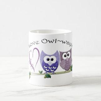Amour Owl~ways, cadeaux mignons d'art de hiboux Mug Blanc