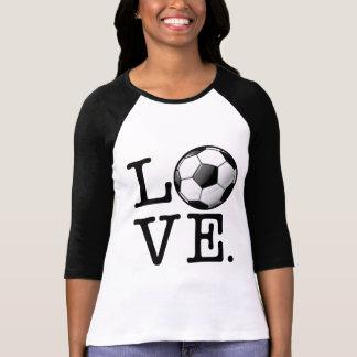 Amour pour le ballon de football brillant du t shirt