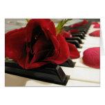 Amour romantique de rose rouge carte de vœux