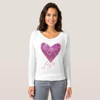Amour rose de coeur de frontière d'or de t-shirt