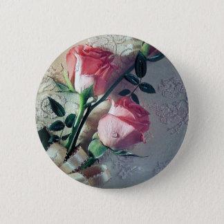 Amour rose de mariage de dentelle de roses macaron rond 5 cm