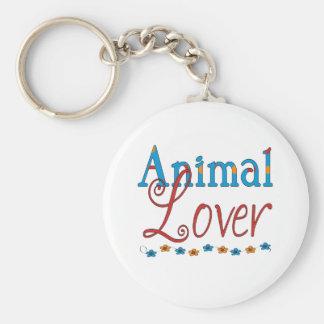 Amoureux des animaux (rouge/bleu) porte-clé rond