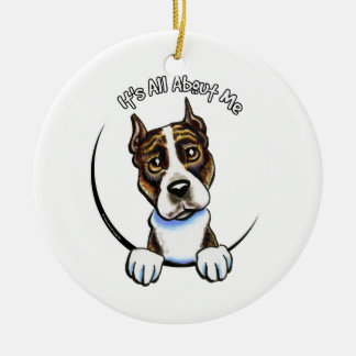 AmStaff Brindle IAAM Round Ceramic Ornament