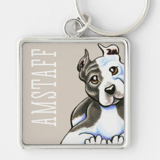 Amstaff Lean on Me (Type) Silver-Colored Square Keychain