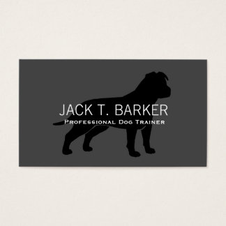 AmStaff Silhouette Black on Grey Business Card