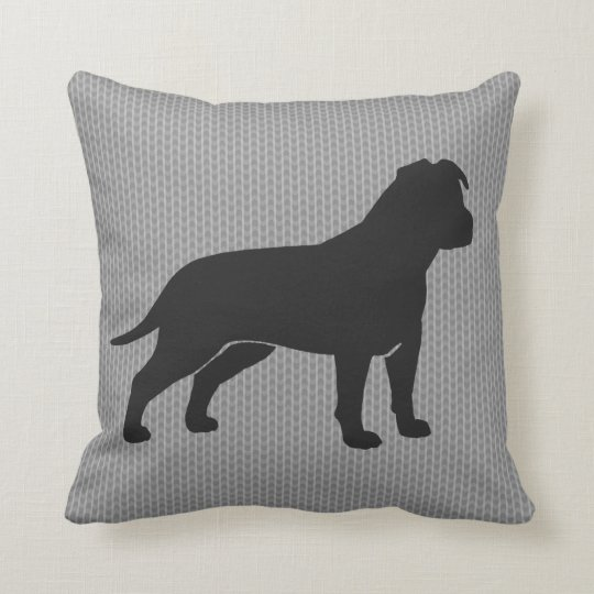 AmStaff Silhouette (Floppy Ears) Throw Pillow