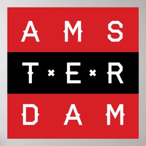 Amsterdam 3 Line Typographic Poster