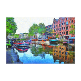 Amsterdam. A quiet harbor. Canvas Print
