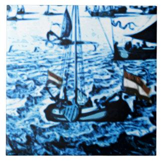 Amsterdam Antique Ships Delftware Vintage Look C4 Tile