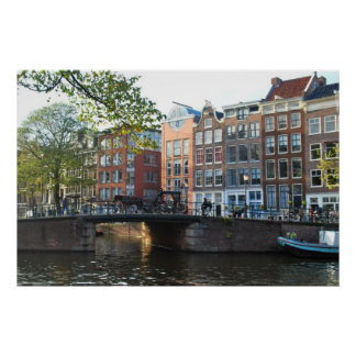 Amsterdam Canal and Bridge Poster