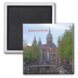 Amsterdam. Canal and Church of Saint Nicholas. Magnet