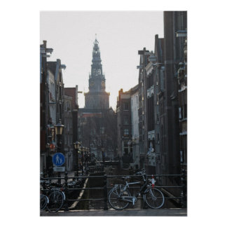 Amsterdam Canal Bike Church Holland Photo Poster