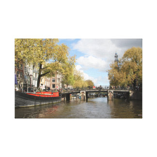 Amsterdam, Canal, Bridge, Houseboat, Church Spire Canvas Print