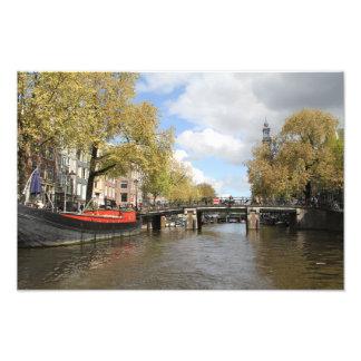 Amsterdam, Canal, Bridge, Houseboat, Church Spire Photo Print