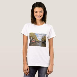 Amsterdam, Canal, Bridge, Houseboat, Church Spire T-Shirt