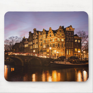 Amsterdam canal houses at dusk mousepad