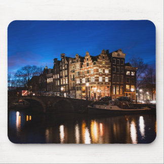 Amsterdam canal houses at night mouse pad