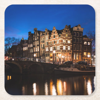 Amsterdam canal houses at night square paper coaster
