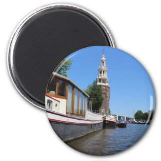 Amsterdam canal view - Boats and spire 2 Inch Round Magnet