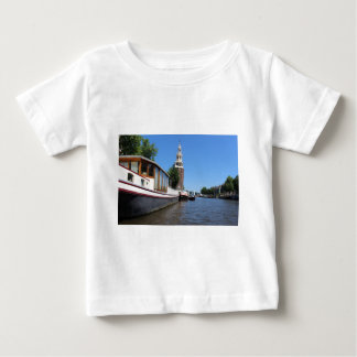 Amsterdam canal view - Boats and spire Baby T-Shirt
