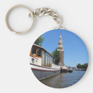 Amsterdam canal view - Boats and spire Basic Round Button Keychain