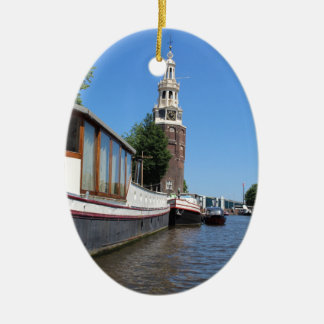 Amsterdam canal view - Boats and spire Ceramic Oval Ornament