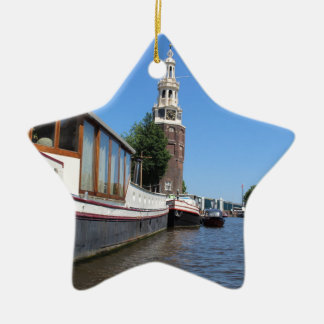 Amsterdam canal view - Boats and spire Ceramic Star Ornament
